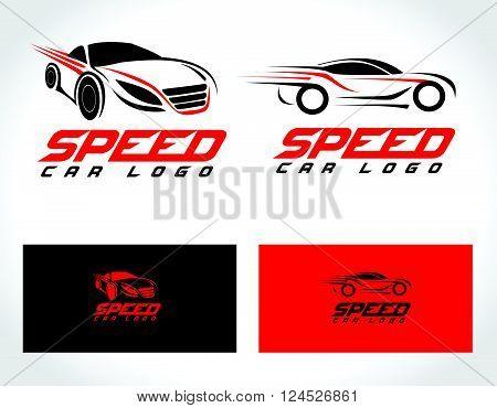 Speed Car Logo Design. Creative Sport Car Icon Vector. Car shape design logo