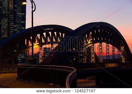 Frankfurt Honsellbridge Night scene at dusk nobody