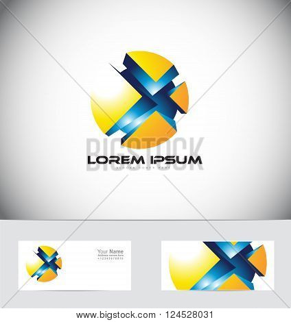 Vector company logo icon element template sphere 3d games gaming blue yellow abstract