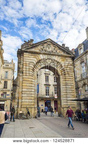 Bordeaux France - March 26 2016. Porte Dijeaux. Dijeaux is a city gate in Gironde district of Bordeaux capital of Aquitaine. France.