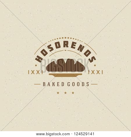 Bakery Shop Logo Template. Vector Design Element Vintage Style for Logotype, Label, Badge, Emblem. Bakery Label, Baker Logo, Bread Icon, Baking Logo, Loaf Silhouette, Logo Vector.