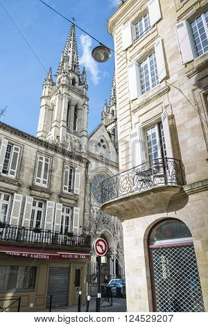 Bordeaux France - March 27 2016. Saint Louis des Chartrons is a typical neo-gothic church situated in north of old town. Bordeaux Aquitaine. France.