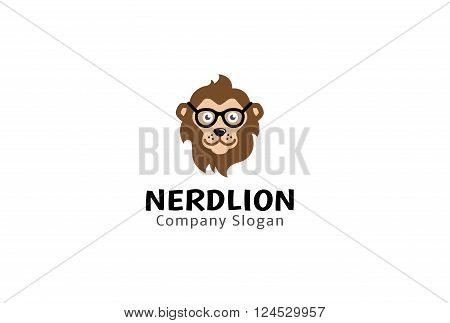 Nerd Lion Creative And Symbolic Logo Design Illustration
