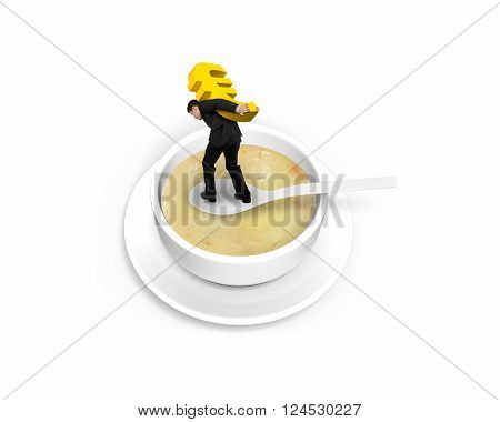 Man carrying golden Euro sign and balancing on spoon in the soup isolated on white background, 3D Illustration.