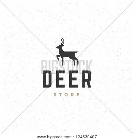 Deer Design Element in Vintage Style for Logotype, Label, Badge, T-shirts and other design. Hunting club Retro vector illustration. Deer Horns Silhouette, Retro Logo.