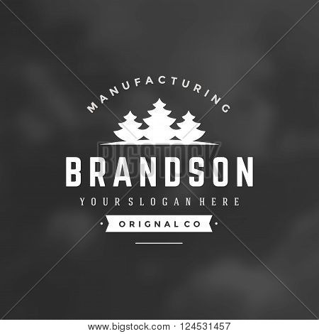 Fir Trees Logo Template. Vector Design Element Vintage Style for Logotype, Label, Badge, Emblem. Spruce Logo, Forest Symbol, Tree Icon, Fir Tree Silhouette, Retro Logo.