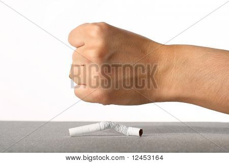 hand broke cigarette