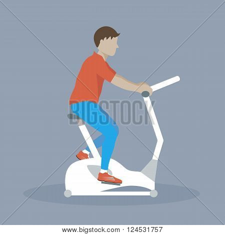 Man doing cycling exercise. Illustration of man with bike trainer. Vector flat characters illustration. Lifestyle and health.