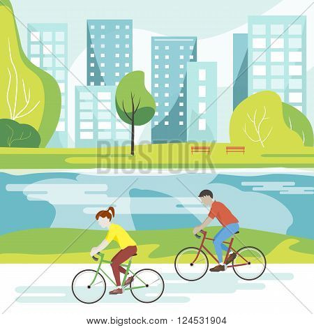 Art vector modern illustration of cyclists in the park. Flat design. Couple riding bicycles in public park. Lifestyle illustration. Cyclists on a walk in the Park and ride along the river with views of the city.