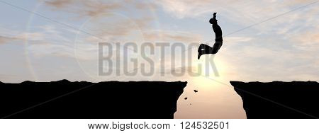 3D illustration  of a concept or conceptual young 3D man or businessman silhouette jump happy from cliff over  gap sunset or sunrise sky background banner