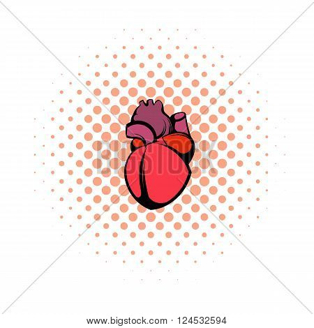 Human heart icon in comics style on a white background