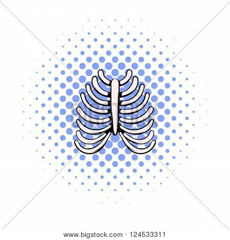 Human rib cage icon in comics style on a white background
