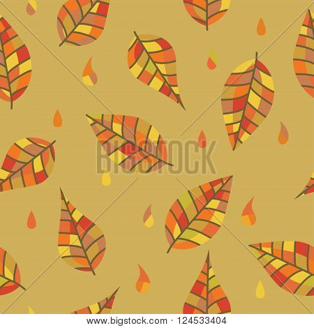 Colorful leaves and drops division for your design. Orange.