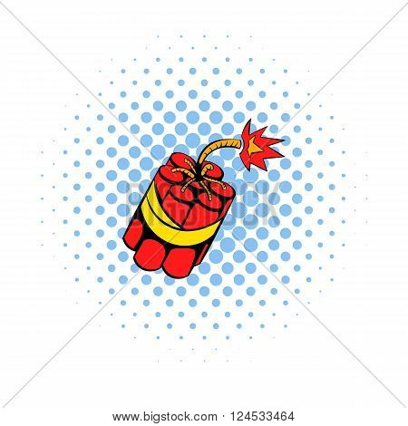 Red dynamite sticks icon in comics style on a white background