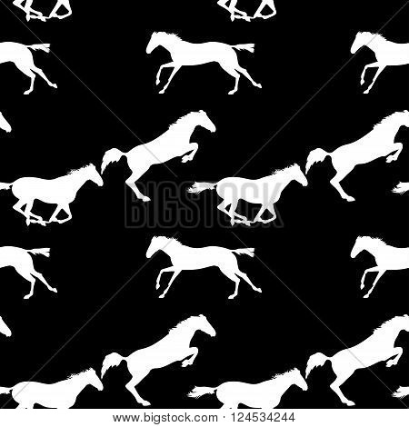Running and jumping herd of horses. Vector seamless pattern with horses. White horse seamless pattern on blackboard. Background with Equine sports theme