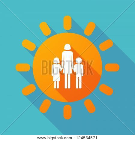 Long Shadow Sun With A Female Single Parent Family Pictogram