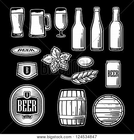 Beer vector flat icons set - bottle glass barrel pint. Black and white Vintage illustration for web design logo brochure poster