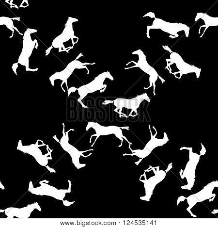 Horse racing image for background banners flyers. Vector seamless pattern with horses. White horse seamless pattern on blackboard. Background with Equine sports theme