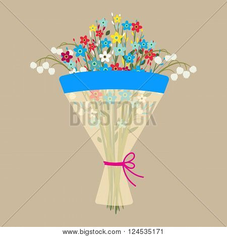 Cute spring bouquet of flowers. Beautiful Wedding bouquet flowers, birthday bouquet flowers, vector illustration in flat design