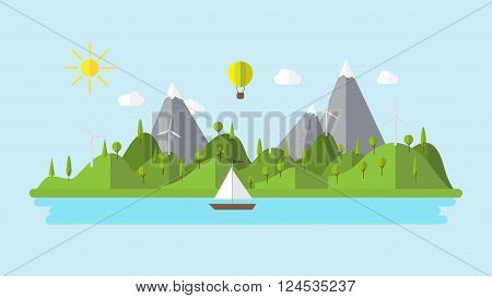 green ecology flat landscape with wind power plant and sailing boat 4k cartoon animation