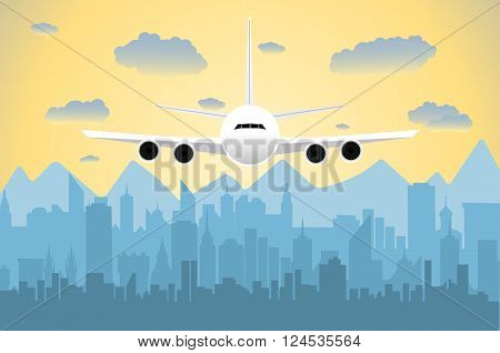 Morning city skyline. Buildings silhouette cityscape with mountains. Big city streets. sky with sun and clouds. Vector illustration. Plane flying over urban city. Vector illustration