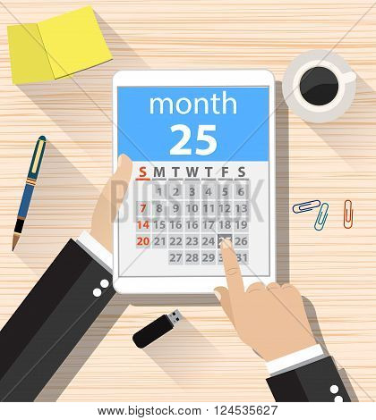 cartoon businessman clicks on the day calendar app on a tablet computer. top view background of office desk with coffee cup, pen, sticky notes. vector illustration in flat design