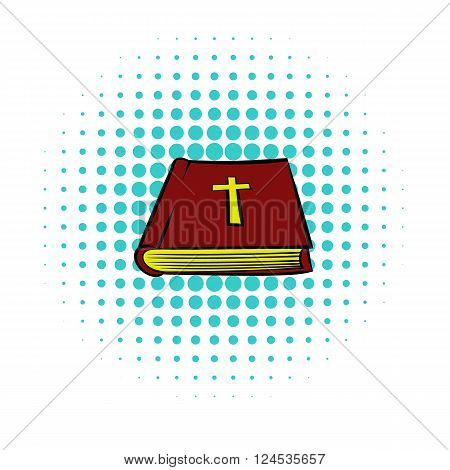 Bible book icon in comics style isolated on white background. Brown book with yellow cross on cover