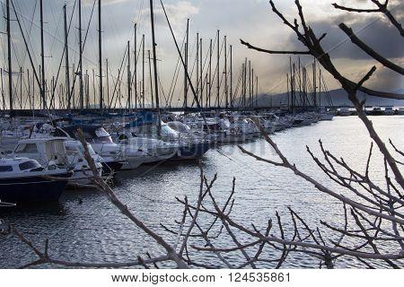 CAGLIARI, ITALY - February 12, 2012: Panorama of the port of Su Siccu - Sardinia