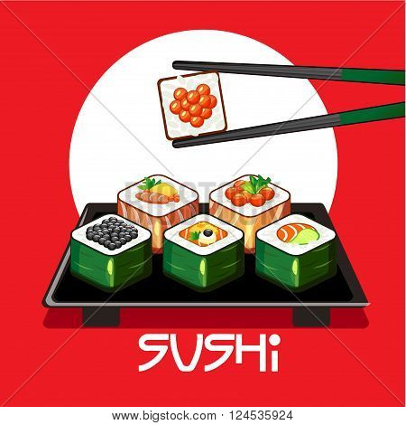 vector With sushi rolls and chopsticks on a plate