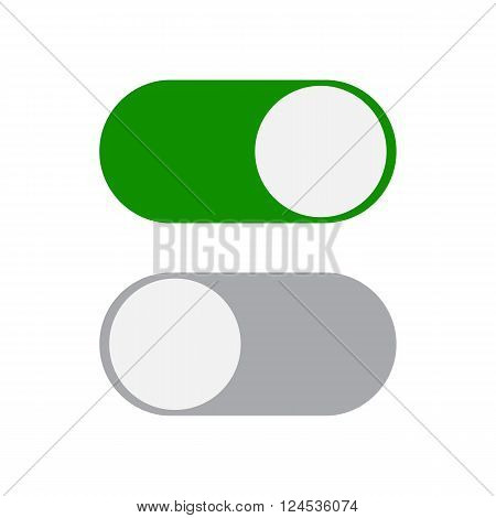 Toggle switch icon, green in on position, grey in off, vector illustration in flat design. template for mobile applications, web design