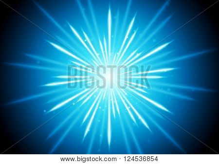 Abstract blue glowing beams background. Vector graphic design