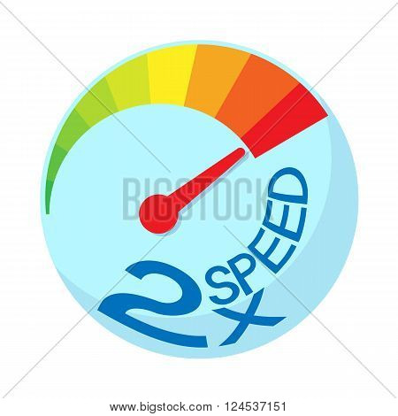 Maximum acceleration icon in cartoon style isolated on white background