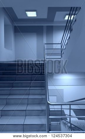 Generic view of stairs with metal trailings special toned photo
