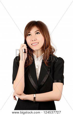 Businesswoman on cellphone running while talking on smartphone. Happy smiling mixed race Asian / Caucasian business woman busy. Image on white background
