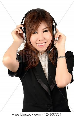 Smiling Woman call center operator. Business woman.