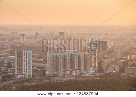 Residential district during sunrise at early foggy morning in Moscow, Russia
