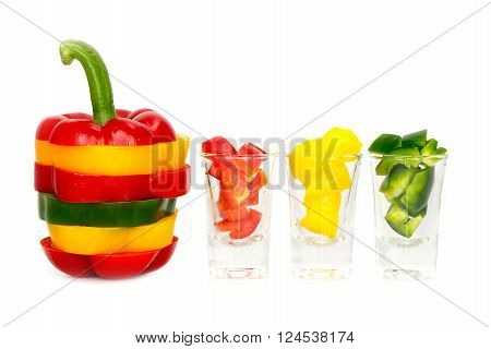 Three Colored Red Yellow Green  Bell Pepper Vegetarian Recipe Paprika Spice Isolate On White Backgro
