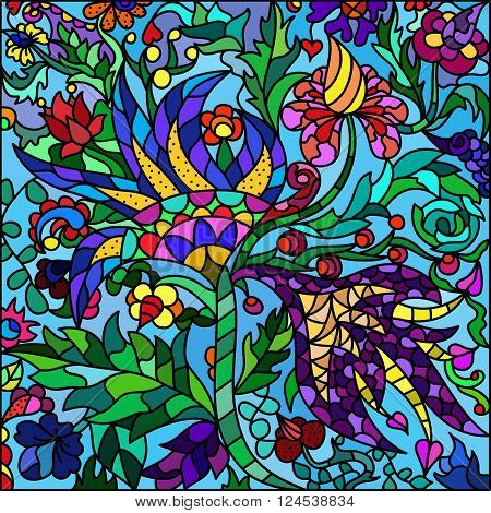 Stained-glass window flowers. Coloful abstract vector background