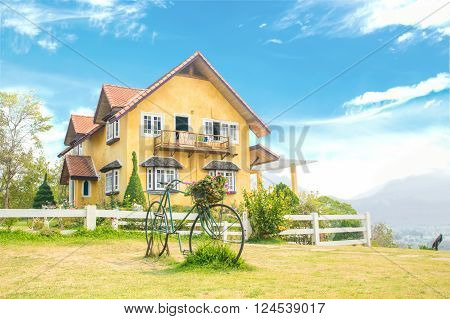 Yellow house   in Pai, Mae Hong Son, north of Thailand