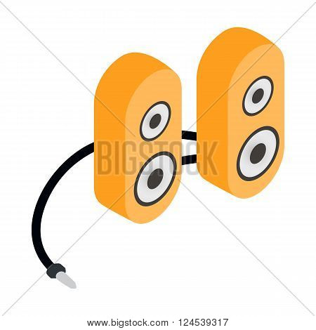 Computer speaker icon in cartoon style isolated on white background