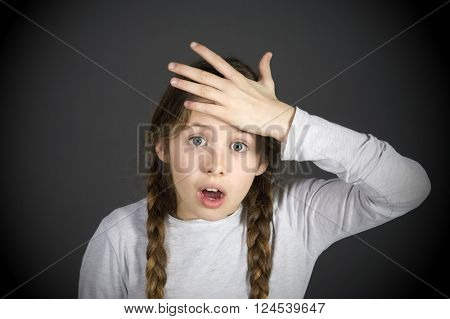 funny schoolgirl get in the swing of solution with dark background