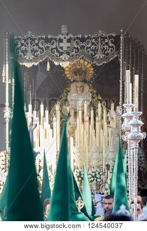 San Fernando Spain - March 31 2015: Holy Week in San Fernando Cadiz Spain. Our Lady of Grace and Hope Crowned. This Brotherhood goes in procession on Tuesday of Holy Week during the celebration of this important religious.