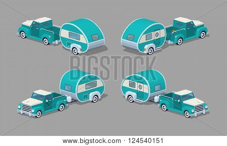 Turquoise retro pickup with motor home. 3D lowpoly isometric vector illustration. The set of objects isolated against the grey background and shown from different sides