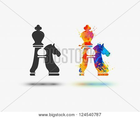 chess icon. Vector watercolor splash paint icon