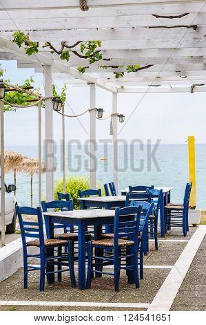 Empty outdoor beach cafe