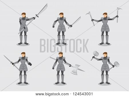 Set of six vector illustrations of woman in medieval knight armor suit holding variety of battle weapon isolated on plain background.