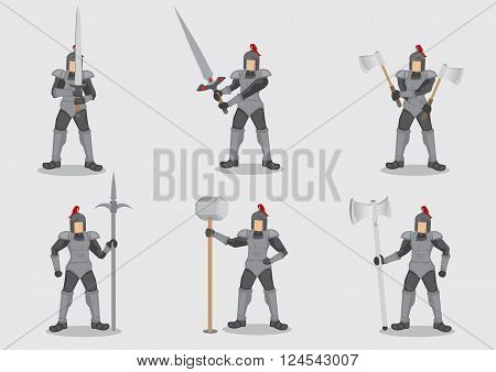 Set of six vector cartoon illustration of medieval knight warrior in armor holding different weapons isolated on plain background.
