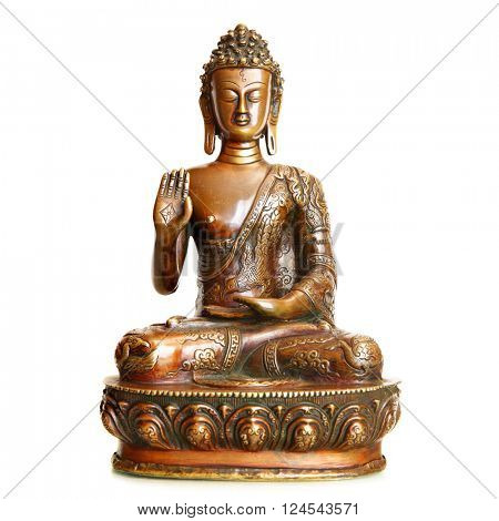Statuette of blessing Buddha isolated over the white background