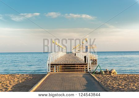 Beach at the sea with pier on nature