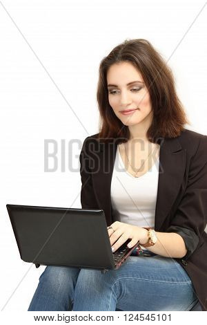 nice young girl with the laptop. isolated on a white background